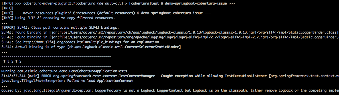 Spring Boot, Cobertura's LoggerFactory is not a Logback LoggerContext but Logback is on the classpath error
