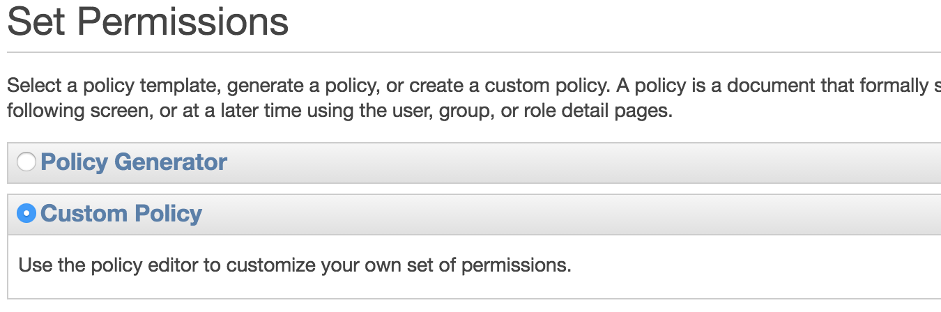 Create AWS IAM Group - Custom Policy