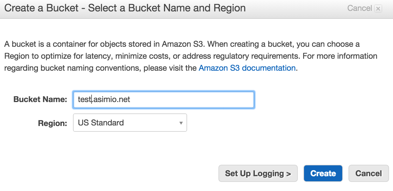Create AWS S3 Bucket - Name and Region