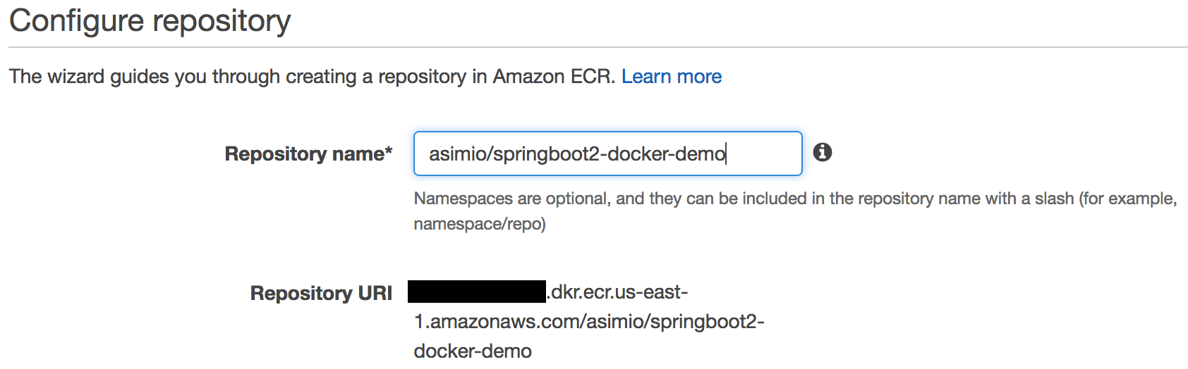 Create an AWS ECR repository - Configuration