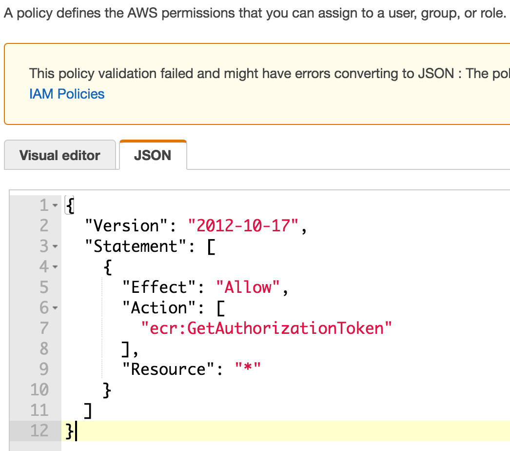 Create an AWS IAM Policy for ECR - JSON code