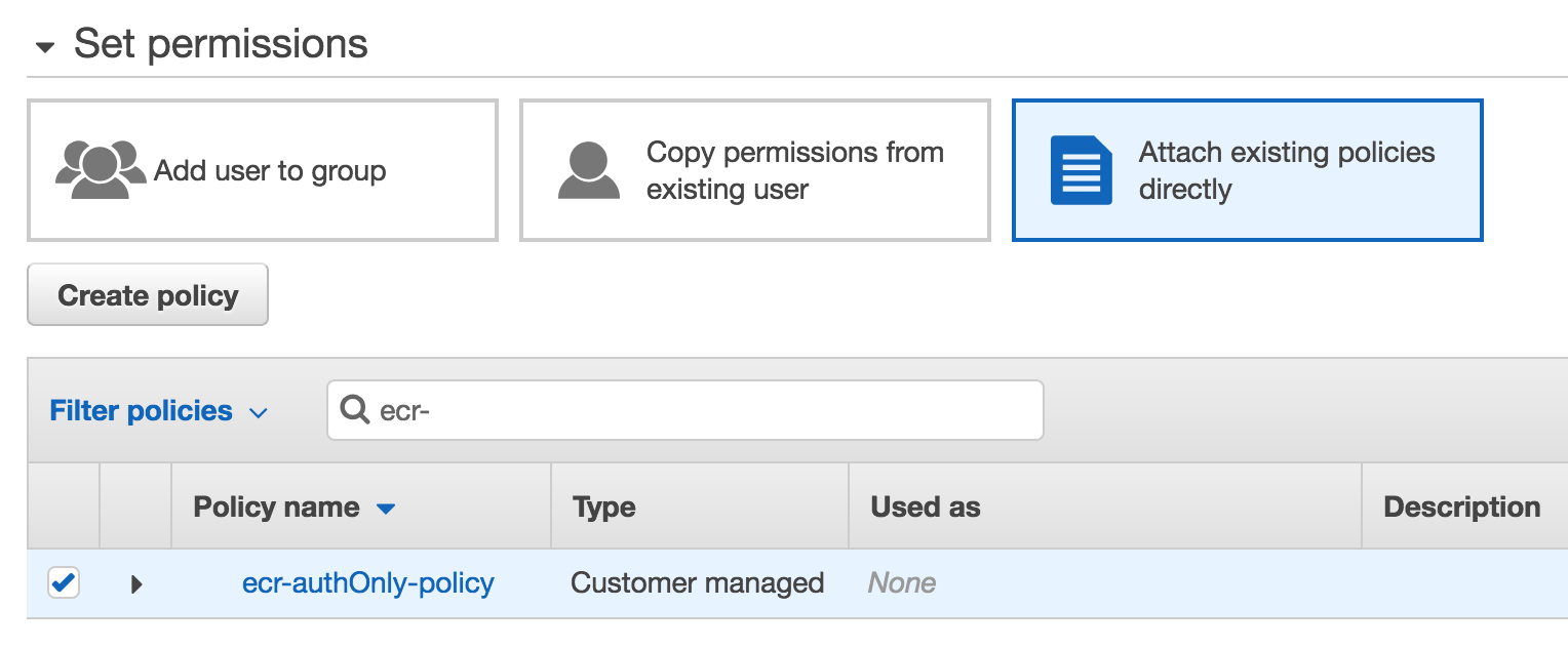Create an AWS IAM User for ECR - Permissions