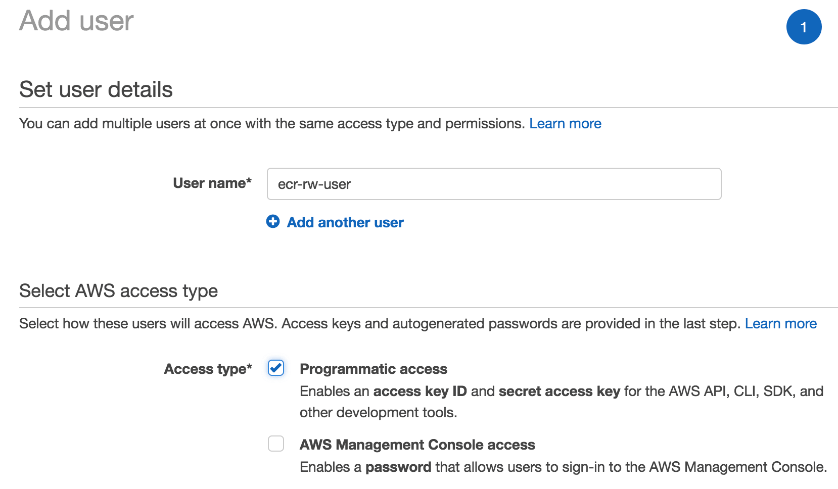 Create an AWS IAM User for ECR